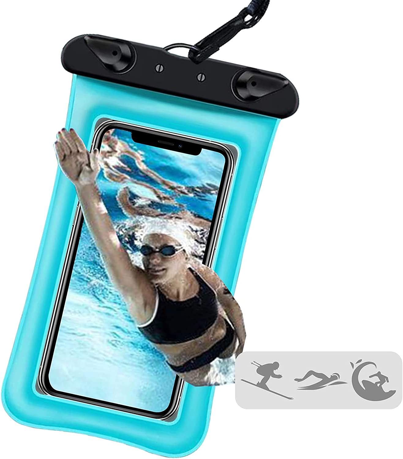 Jmart Floating Waterproof Phone Pouch Holder Dry Bag Case for Samsung Galaxy S21 Ultra S20+ S10 S9 Note 20 A01 A11 A12 A32 A42 A52 A10e A20 A21 A51 A71 iPhone 12 Pro Max 11 XS XR 8 up to 7