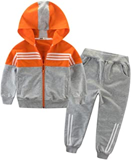 Boy's Casual Tracksuit Long Sleeve Color Block Hoodie Jacket Sweatsuit Pants Outfit Set