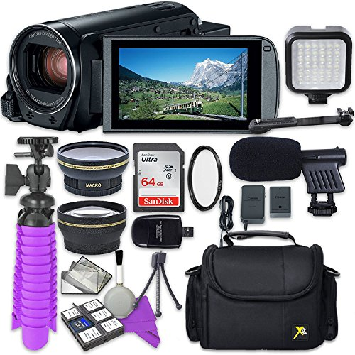 Canon VIXIA HF R80 Camcorder with Sandisk 64 GB SD Memory Card + 2.2X Telephoto Lens + 0.42x Wideangle Lens + Video Accessory Bundle