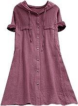 COZOCO Camisa De Algodón De Gran Tamaño con Botón Casual De Mujer Camiseta con Tapa Suelta