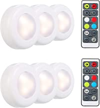 RGB LED Under Cabinet Lamp Puck Light 6 Pack with Remote Control Brightness Adjustable Dimmable Timing