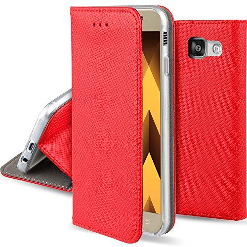 Moozy Hülle Flip Case für Samsung Galaxy A5 2017, Rot - Dünne Magnetische Klapphülle Handyhülle mit Standfunktion