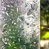 LEMON CLOUD Vinilo Ventana Sin Pegamento Translucido 3D Ventana para la Protección Solar y de la Privacidad en Cocina Baño Dormitorio y Ducha Adherencia Electrostática Ventanas (60cmx400cm Tulip)