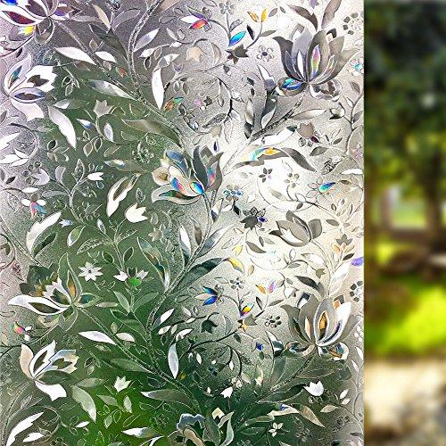 Lemon Cloud 3D Sichtschutz Folie Fenster Fensterfolie Muster für Badezimmer Dekoration und Schutz der Privatsphäre (Tulpe) (60cm*400cm)