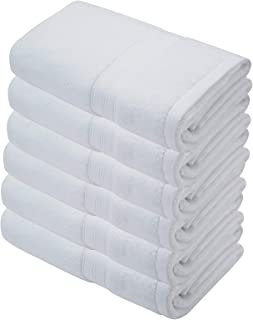 6-Pack Hand Towels for Bathroom 600 GSM Cotton Absorbent Soft Face Towels Sets (16 x 27 inches, White)