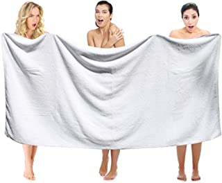 Extra Large Premium Bath Towels Set – 100% Cotton Towels for Hotel and Spa, Maximum Softness and Absorbency (4 Pack, White...