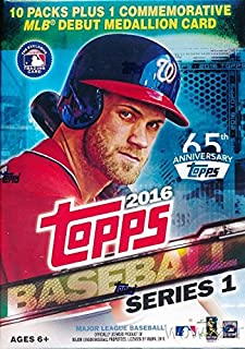 Topps 2016 Series 1 MLB Baseball Exclusive Factory Sealed Retail Box with 10 Packs & 101 Cards and MLB Debut Commemorative Medallion Card