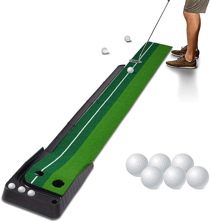 Set golf professionale interno e all`aperto con ostacoli e sistema di ritorno pallina con 6 palline hivexagon F-SP129