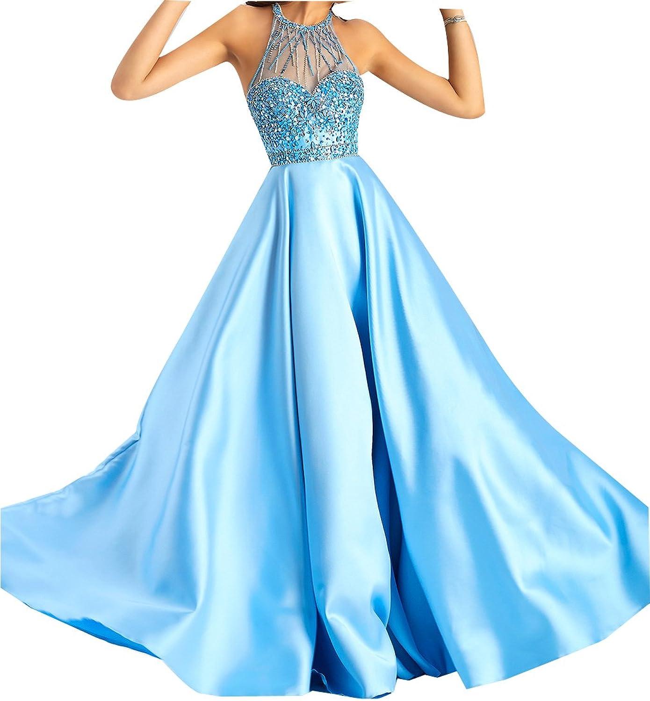 LISA.MOON Women's Halter A line Sleeveless Satin Beading Sheer Zipper Prom Dress
