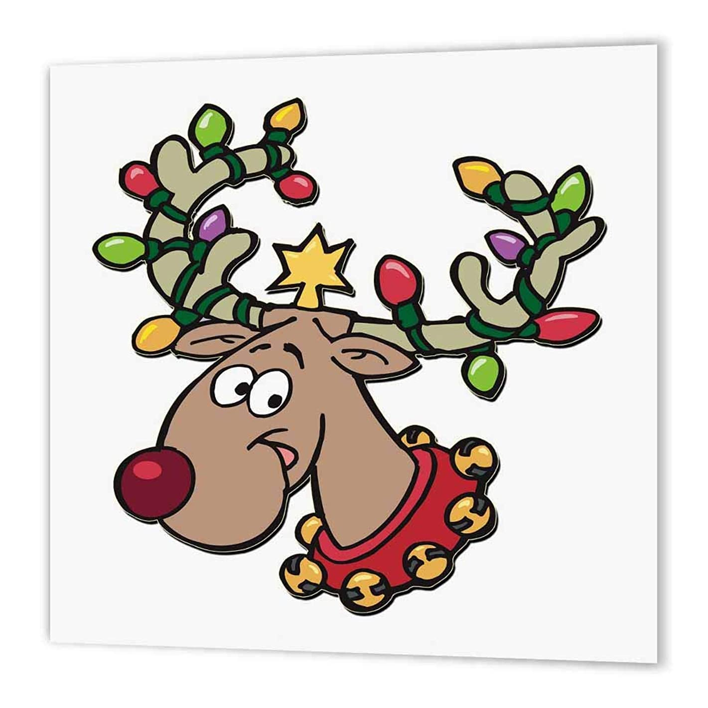 3dRose ht_160535_3 Reindeer with Holiday Lighted Antlers-Iron on Heat Transfer Paper for White Material, 10 by 10-Inch