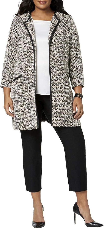Charter Club Womens Plus Spring Tweed Midi Coat