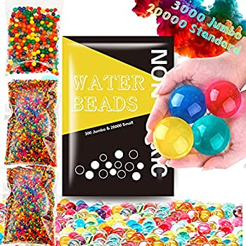 Leeche Non Toxic 300pcs Jumbo & 20000 Small Water Beads Gel Beads Kit for Kids-Value Package Sensory Toys and Decoration
