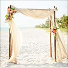 QueenDream 2 Pack Sheer Chiffon Table Runner Wedding Party Home Garden Outdoor Indoor Arch Decorations 10Ft Ivory Table Ru...