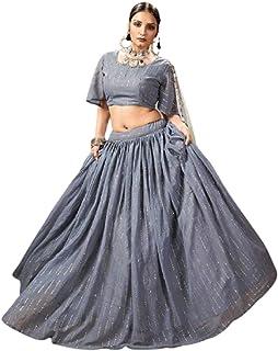 Golden Foil Mukaish Work Ghagra Indian Woman Party Festival Flary Georgette Lehenga Choli Dupatta 6210