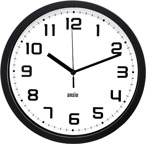 ANSIO Horloge Murale 25,4cm Grande pendules murales, Horloge Murale silencieuse Design Moderne idéale pour la Maison,...