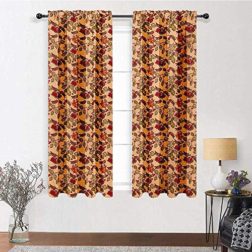 Interestlee Short Curtains Nature Customized Drapes Panels Rowan Maple Birch Oak Branches Deciduous Forest Autumn Leaf Ornament with Words 2 Panels 84' x 84' Multicolor