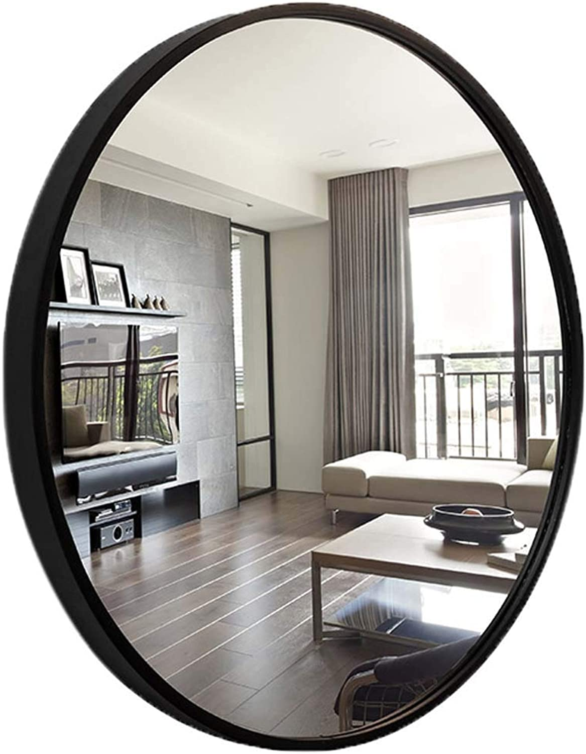 Wall-Mounted Round Mirrors (19.7-31.5Inch) Modern Concise Decorative Hangs Mirror with Black Solid Wood Frame Makeup Shaving Vanity Mirror for Bathroom Bedroom Living Room Hallway