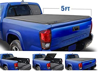 Tyger Auto (Soft Top) T3 Tri-Fold Truck Tonneau Cover TG-BC3T1530 works with 2016-2018 Toyota Tacoma | Fleetside 5' Bed | For models with or without the Deckrail System