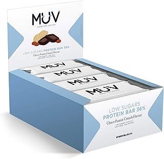 comprar comparacion Muv Food For Action - Barras de proteína bajas en azúcar con chocolate y crujiente de cacahuete, 12 unidades de 30g