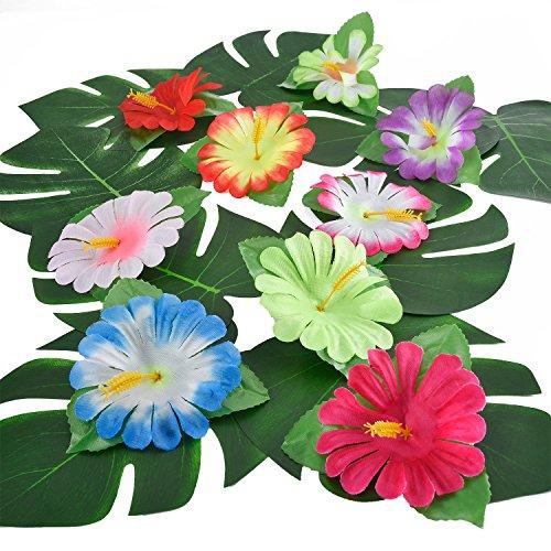 Pangda 32 Stücke Simulation Hibiskus Tropische Blätter für hawaiianische Luau Dschungel Party Dekoration