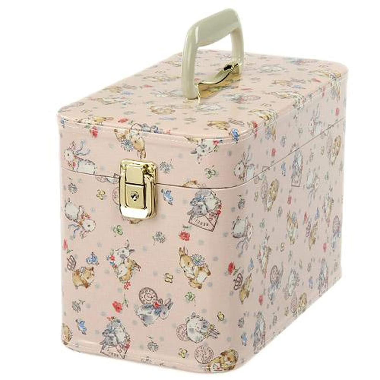 ブラジャー伝染病十日本製 メイクボックス (コスメボックス)うさぎ柄 30cm ペールピンク トレンケース(鍵付き/コスメボックス)