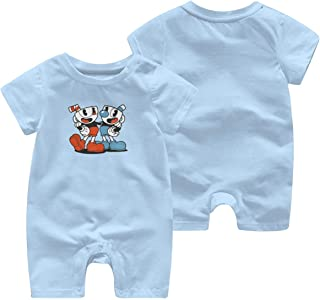 Soft Cotton Newborn Jumpsuit 0-3M Rompers for Baby Boys with Cuphead and Mugman Pattern Sky Blue