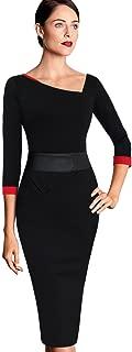 VFSHOW Womens Vintage Asymmetrical Neck Work Business Party Sheath Dress