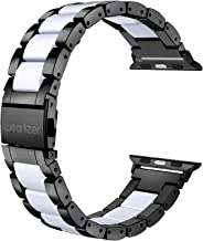 Wearlizer Compatible with Apple Watch Band 42mm 44mm for iWatch Womens Stainless Steel Wristbands Black Metal with White Resin Fashion Replacement Classic Strap Bracelet Clasp Series 5 4 3 2 1 Sport