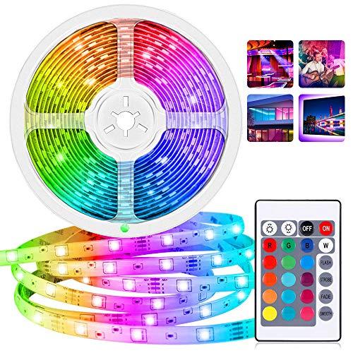 SunTop LED Strip Lichtband, 5m LED Streifen, LED Stripes RGB 5050 SMD 300 Led Bänder IP65 Wasserdicht mit 24 Key Fernbedienung und Netzteil für Küche, Bar, Terrasse, Party, Dekoration