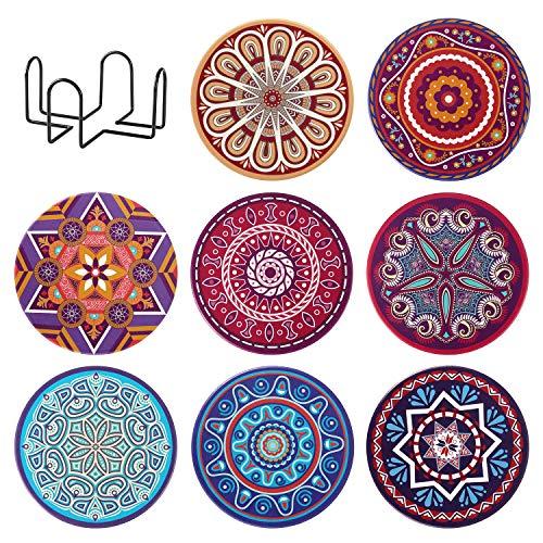 KEESIN - Set di 8 sottobicchieri in ceramica con supporto per bevande, motivo mandala assorbenti, tappetino decorativo per casa, ristorante, ufficio e bar