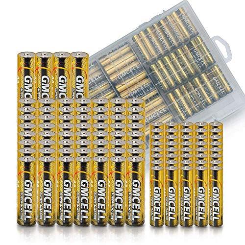 GMCELL Paquete combo de baterías AA y AAA, 1.5 V voltios, organizador variado, 100 unidades (40 x Triple A, 60 x Doble A)