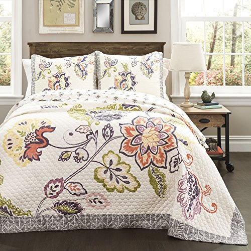 Lush Decor Aster Quilt Flower Pattern Reversible Coral and Navy 3 Piece Lightweight Bedding Set, Full/Queen