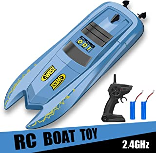 INLAIER RC Boat Remote Control Boats for Pools and Lakes - H126 Mini Racing Boats 2.4GHz 10km/h High Speed Remote Control Boat for Kids Adults Boys Girls, Blue