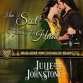 When a Scot Gives His Heart     Highlander Vows: Entangled Hearts, Book 7              Written by:                                                                                                                                 Julie Johnstone                               Narrated by:                                                                                                                                 Tim Campbell                      Length: 7 hrs and 28 mins     1 rating     Overall 5.0