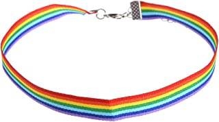 Qlychee LGBT Cotton String Knitted Chokers Retro Rainbow Gay Pride Ribbon Necklace Gift