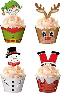 STOBOK Set de envoltorios y Adornos de Cupcakes navideños para la decoración de Pasteles de Fiesta de Navidad,24 envoltorios + 24 Adornos