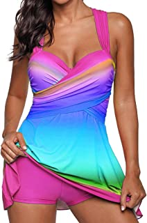 riou Bikini, riou Conjunto de Tankinis Mujer Talla Grande Traje de baño Push up Beachwear Bikini Acolchado Gran Talle Alto con Estampado Degradado Playa de Verano de Dos Piezas Traje de baño