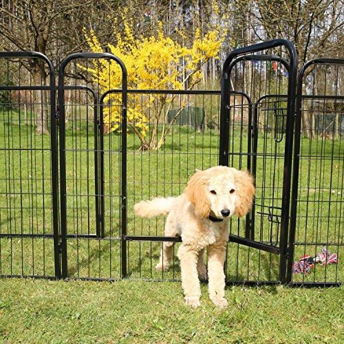 TRESKO® Welpenlaufstall Freilaufgehege Welpenauslauf Hundelaufstall Tierlaufstall Hunde, mit Tür und wetterfester Hammerschlag-Lackierung - 7