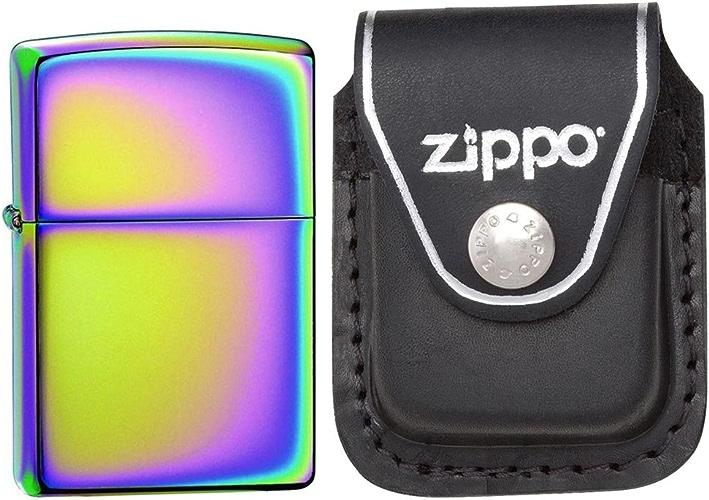 Zippo 151classique Spectrum Chrome coupe-vent Poche Briquet avec Zippo Cuir Noir avec clip