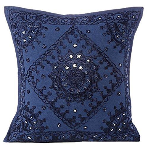 Radhy Krishna Fashions indiano–40,6cm blu specchio ricamato decorativo divano cuscino boho Boemia