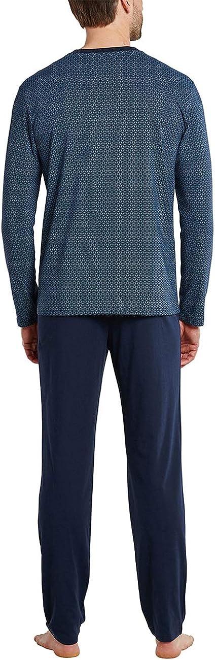 Schiesser Herren Schlafanzug Lang V-Ausschnitt Pyjamaset