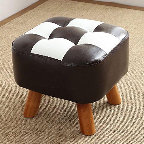Young baby Banc de Chaussure tapissé par Bois Plein carré, Tabouret de Sofa de Tissu de Cuir de mitation, 5 Couleurs. (L35cm * L35cm * H34cm) (Color : Black+White)