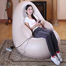 HOPZ Beige Color PVC Material European Style Inflatable Small Sofa Electric Full Body Massager Chair Sets Pain Relief Bodyfriend Vibration Machine For Home Furniture Living Room Furniture