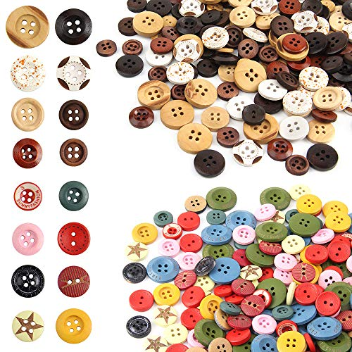 GHJK Bottoni Fatti a Mano 400 Pezzi Modello Misto Bottoni in Legno Vintage con 2 Fori Bottone in Legno11-25mm Bottoni in Legno di Forma Rotonda per Cucire e Realizzare Decorazioni