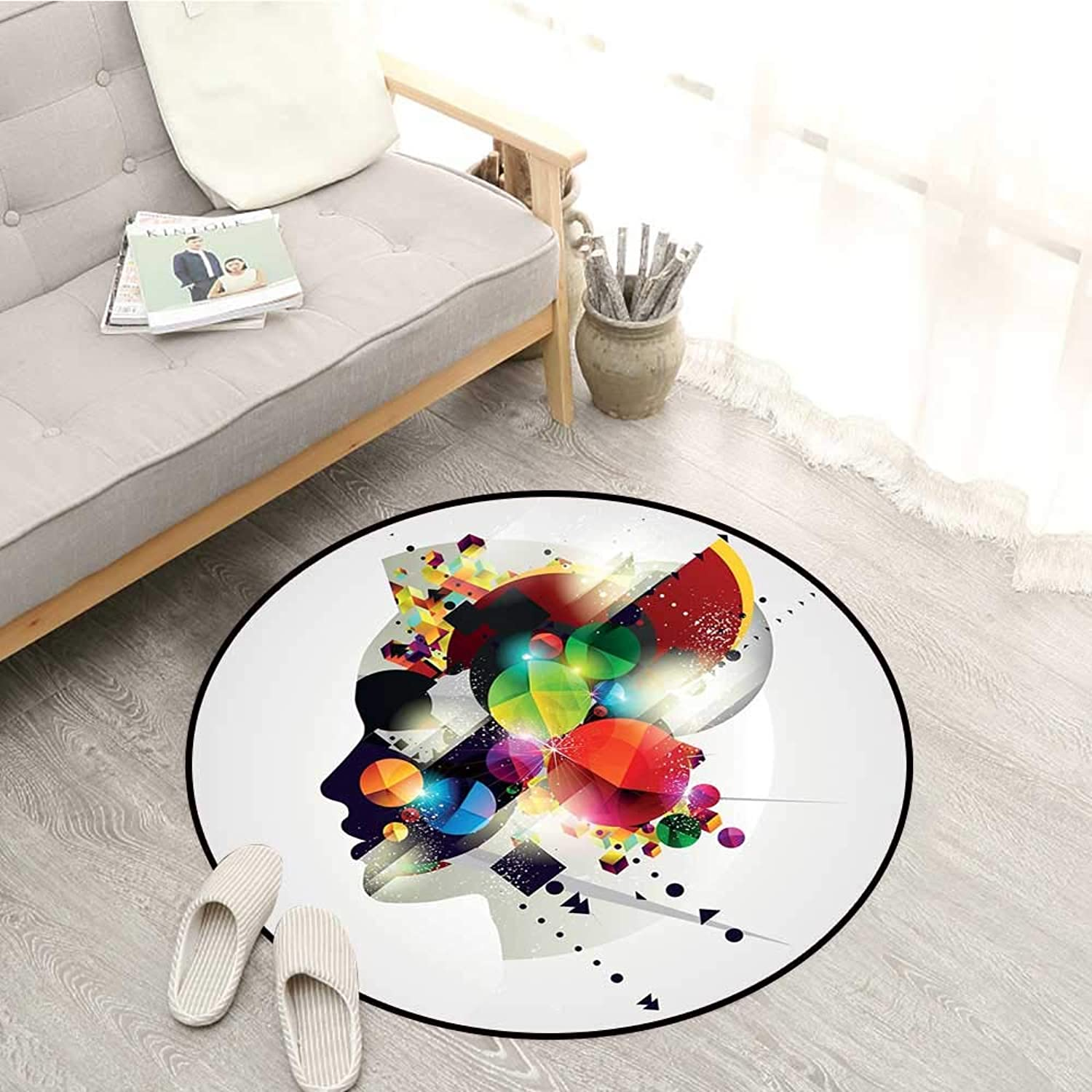 Abstract Carpets Modern Graphic Composition with colorful Geometric Digital Shapes and Girl Profile Sofa Coffee Table Mat 4'7  Multicolor