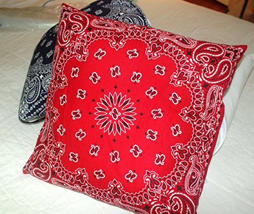 Bandana Throw Pillow, hand crafted with actual Bandanas. Red.