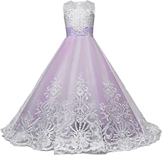 RONSHIN MeterMall Children Girls Long Princess Dress Prom Puffy Tulle Lace Embroider Dress