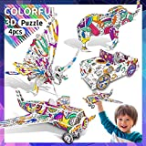 3D Coloring Puzzle Set, 4 Pack Puzzles with 10 Pen Markers, Art Coloring Painting 3D Puzzle for Kids Age 7 8 9 10 11 12. Fun Creative DIY Toys Gift for Girls and Boy