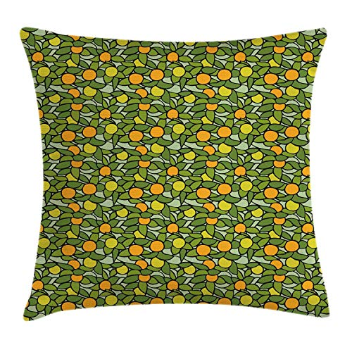 KENDIA Apple Tree Branches and Leaves Vitamin Botany Fruits Juicy Organic Eat, Decorative Square Accent Pillow Case, Marigold and Fern Green, 18 inch