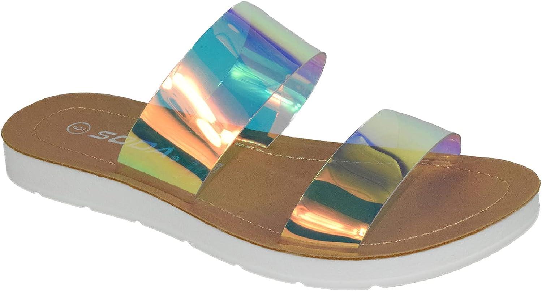 Soda Shoes Women Flip Flops Flat Beach Sandals Slides Double Str